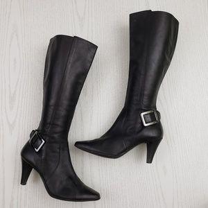 Antonio Melani Knee High Boots Black Leather 7.5